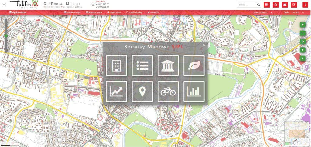 Geoportal miejski - grafika zmapą miasta Lublin wtle